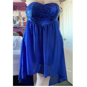 Strapless Blue Sparkly Hi-Low Dress